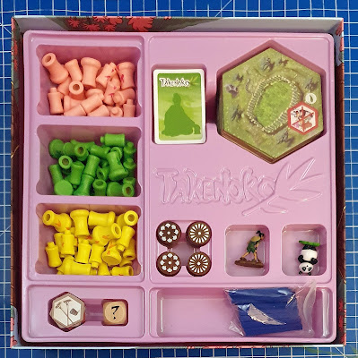 Takenoko Asmodee game box contents in position for storage