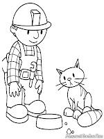 Mewarnai Gambar Bob Builder Coloring Pages Printable Memberi Makan Kucing