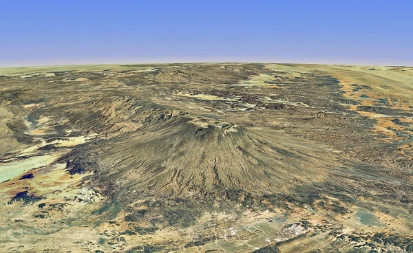 Emi Koussi volcano at 2.1 miles above sea level is the highest peak of Africa's largest driest desert, the Sahara.