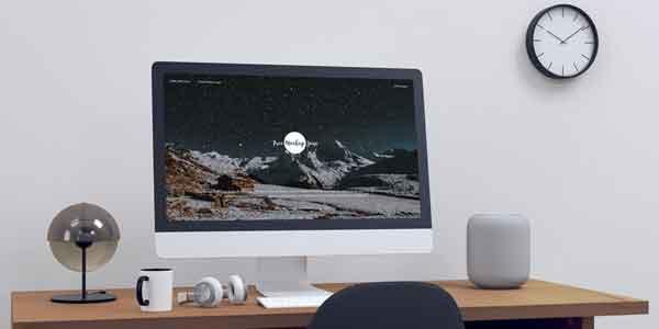 Modern Designer Workstation iMac Mockup
