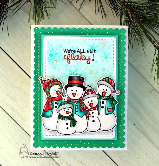 We're all a bit Flaky by Larissa Heskett for Newton's Nook Designs using Frosty Folks, Frames and Flags and Snowfall Stencil #newtonsnook #newtonsnookdesigns #frostyfolks #snowfallstencil #snowmenfamily