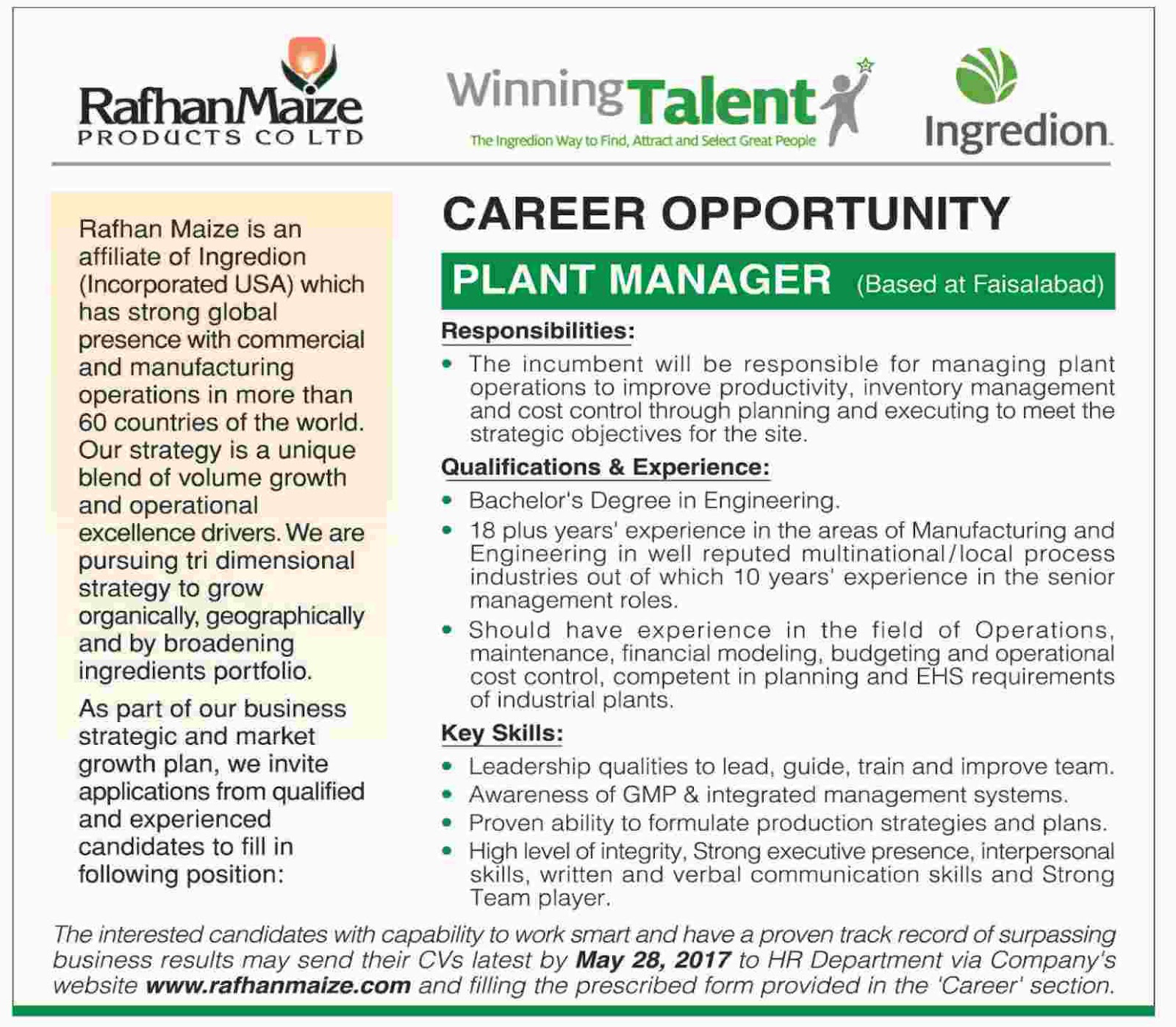 jobs in Rafhan Maize Products Co Limited 15 May 2017