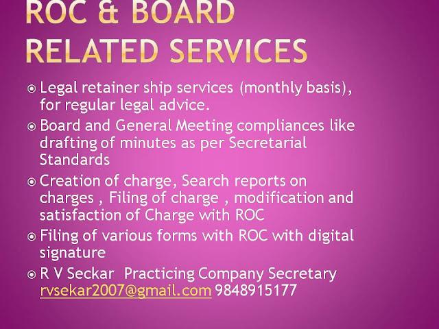 R V Seckar Practicing Company Secretary rvsekar2007@gmail.com 9848915177
