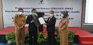 Asisten III Bidang Ekonomi Mewakili Gubernur Jambi Saksikan Sertijab Kepala BPOM Jambi.