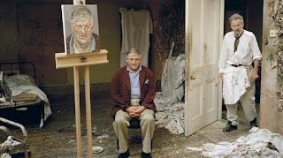 Lucian Freud y David Hockney juntos.