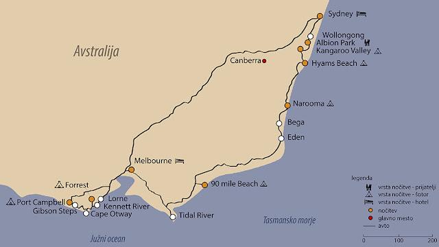 Avstralija potopis, zemljevid