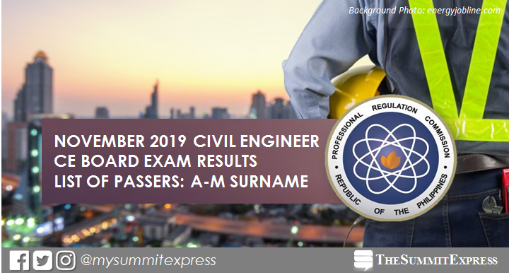 LIST OF PASSERS: A-M November 2019 Civil Engineer CE board exam result