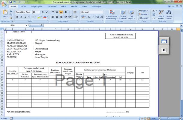 Format Administrasi Kepegawaian Kepala Sekolah Download File Microsoft Excel