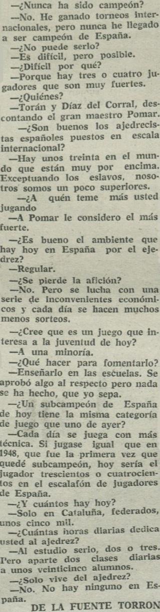 Entrevista a Rafael Saborido en Diario Español, 18/10/1963