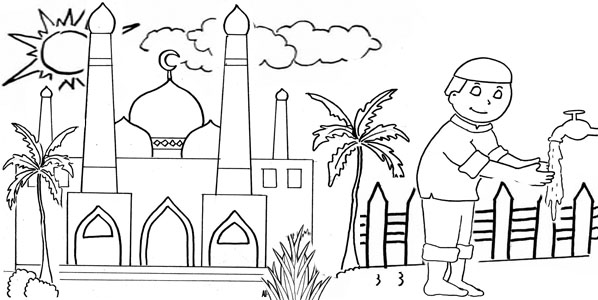 Sketsa mewarnai gambar masjid  Dunia Putra Putri