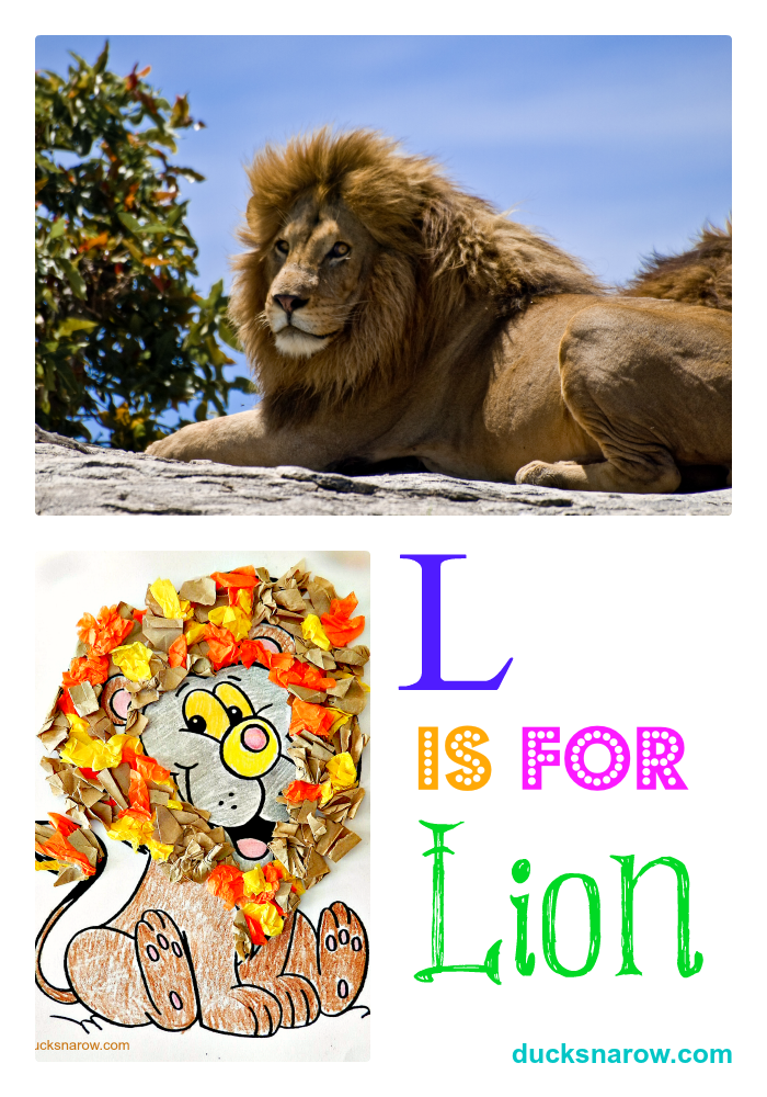 preschool lesson and craft about lions and the letter L