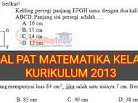 Soal PAT Matematika Kelas 7 SMP/MTs Semester 2 Kurikulum 2013