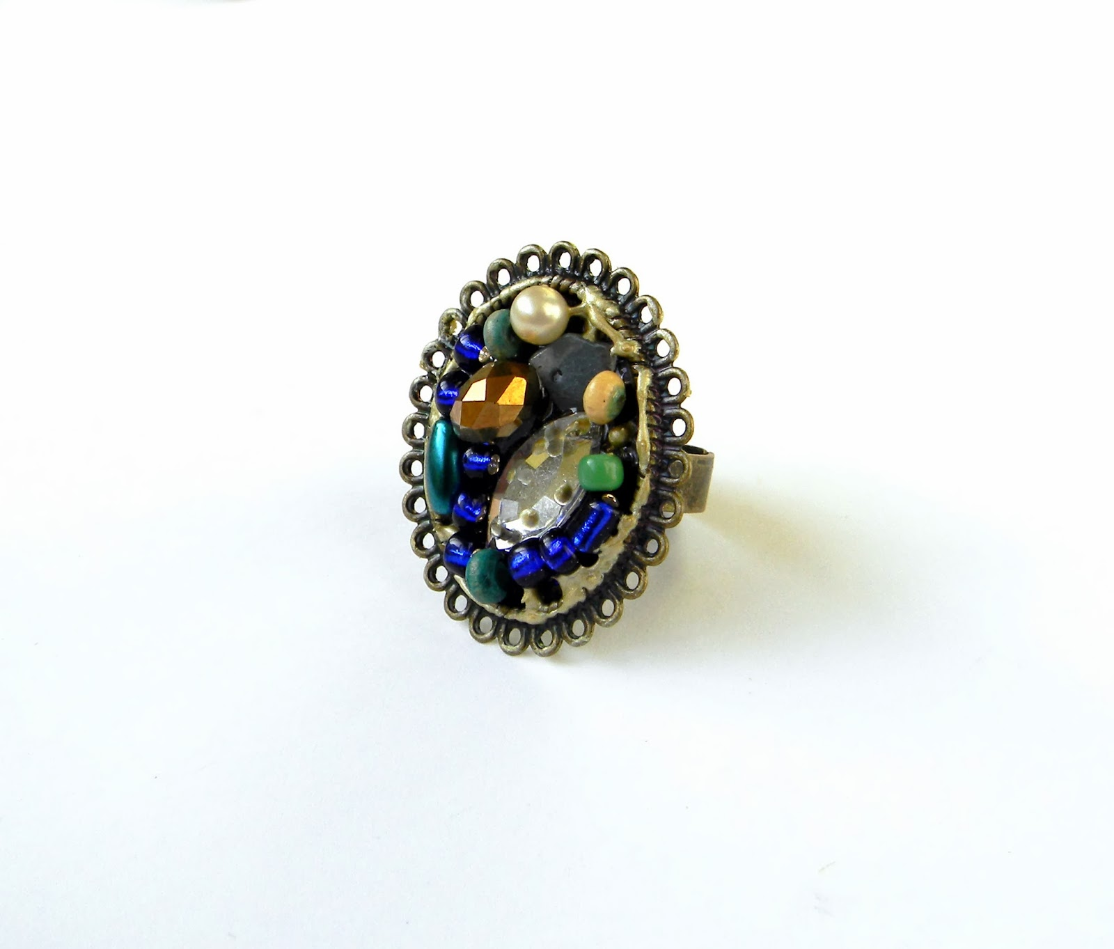 Beaded Collage Ring Bronze Filigree Cabochon with Colorful Beads Adjustable Ring M size