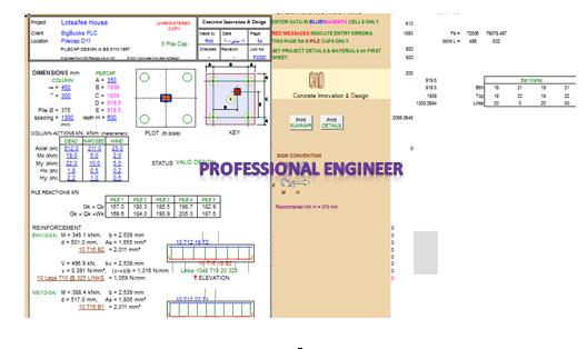 Important excel sheet for design pile caps