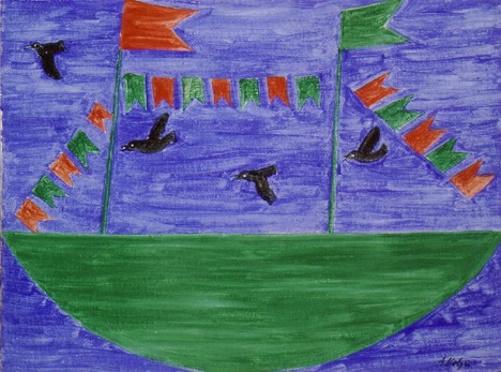 Barco com bandeirinhas e pássaros, pintura de Alfredo Volpi.