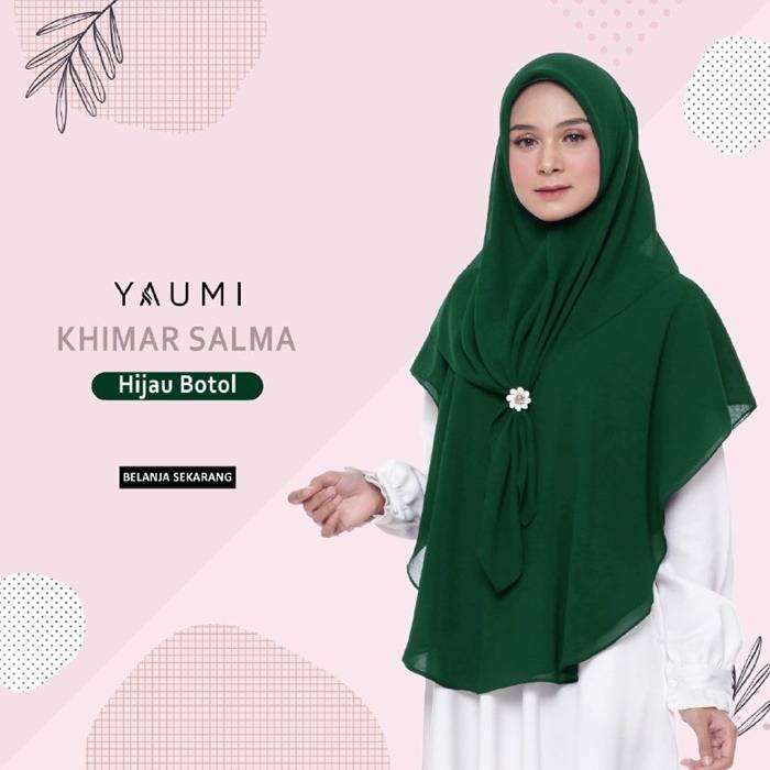 Yaumi Hijab Khimar Salma Hijau Botol