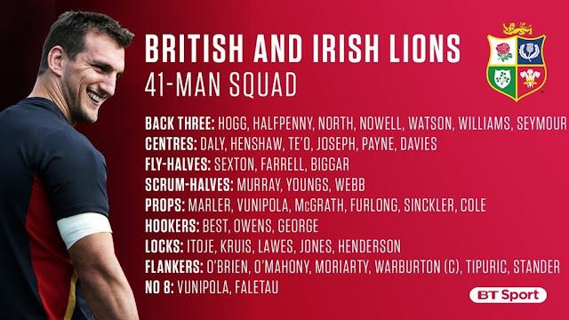Anunciado el plantel de los British & Irish Lions