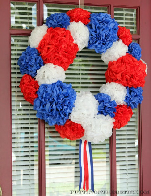 Pretty patriotic wreath made from tissue paper!