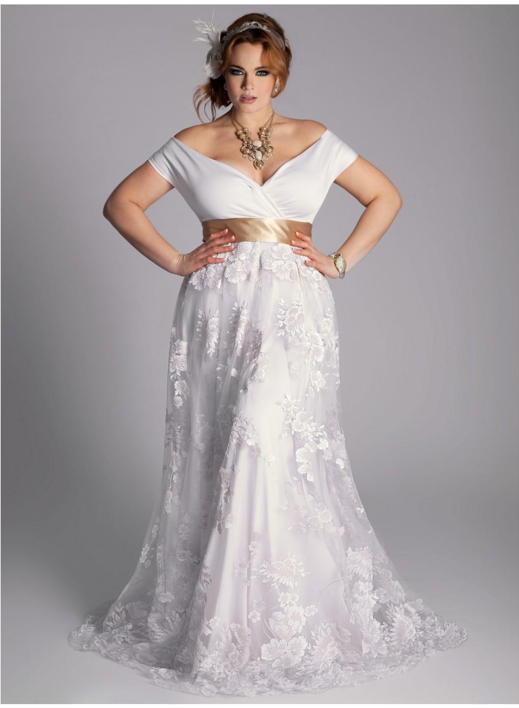 8092e5b4d9281 Vintage Tea Length Wedding Dress Plus Size - raveitsafe