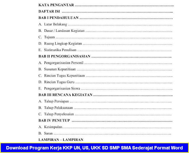 Download Program Kerja KKP UN, US, UKK SD SMP SMA Sederajat Format Word