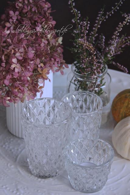 Lieblingsidee Herbstdekoration mit Hortensien und Kürbissen