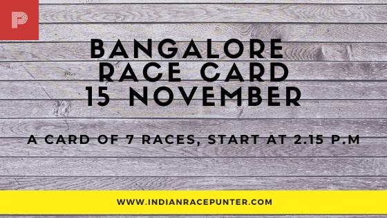 Bangalore Race Card , free indian horse racing tips, trackeagle,racingpulse