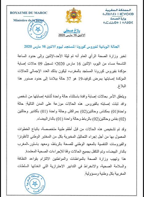 وزارة الصحة المغرب تعلن تسجيل 9 حالات جديدة مصابة بفيروس كورونا ، ثمانية وافدة من خارج البلاد وواحدة انتقلت إليها العدوى من مصاب وافد.