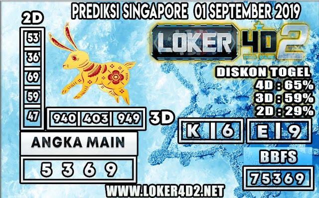 PREDIKSI TOGEL SINGAPORE LOKER4D2 01 SEPTEMBER 2019