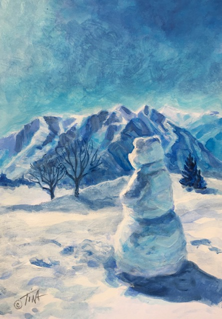 Painting of a snow scene using only blue paint.