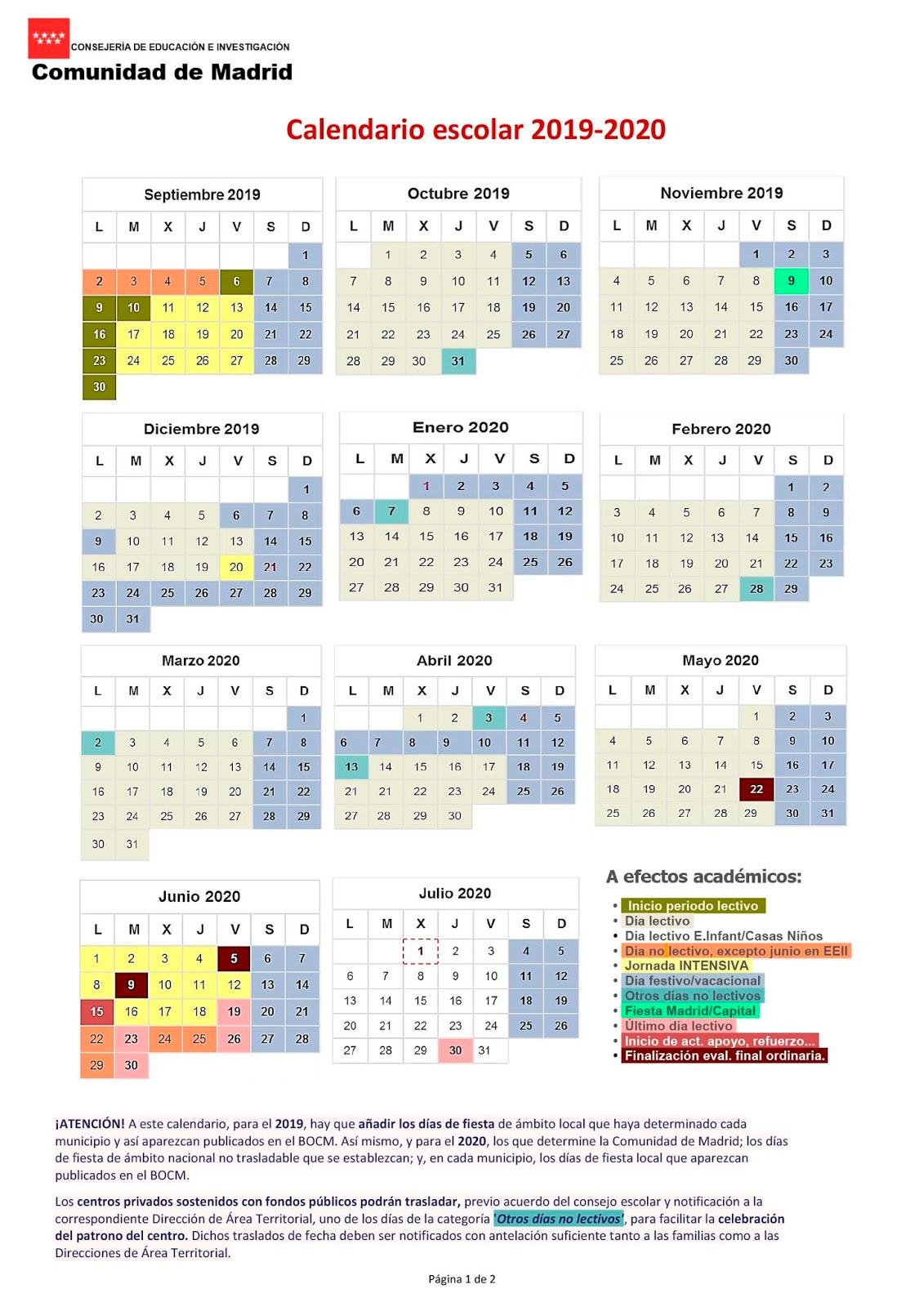 Calendario Escolar Galicia 2020 Y 2019.Mareaverde Calendario Escolar 2019 2020