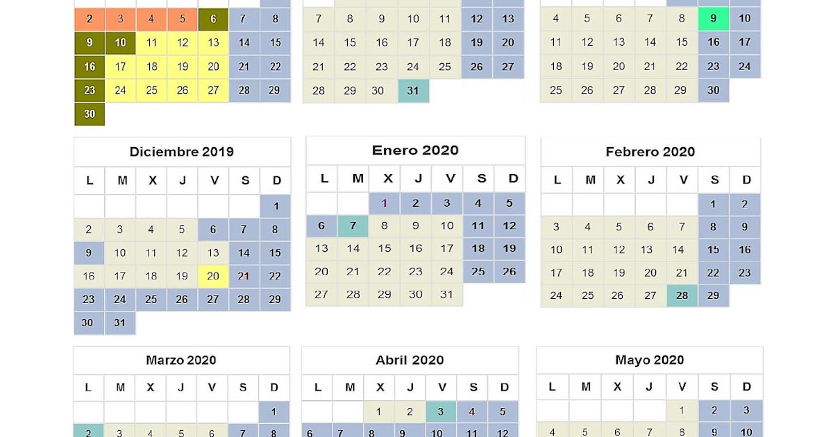 Calendario Escolar Madrid 2020 2019.Mareaverde Calendario Escolar 2019 2020