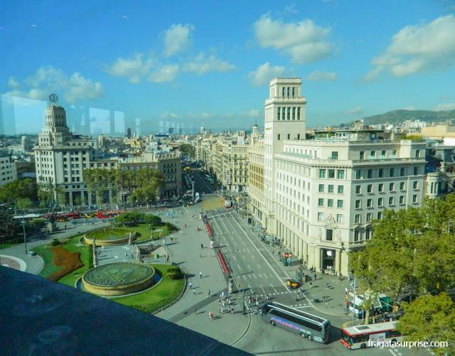 A Plaça de Catalunya, em Barcelona, vista do terraço da loja El Corte Inglés