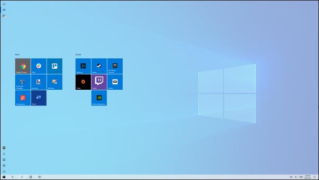 ابدأ الشاشة في وضع الكمبيوتر اللوحي الخاص بنظام Windows 10