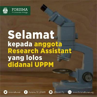 Pengumuman  Research Assistant yang lolos didanai UPPM