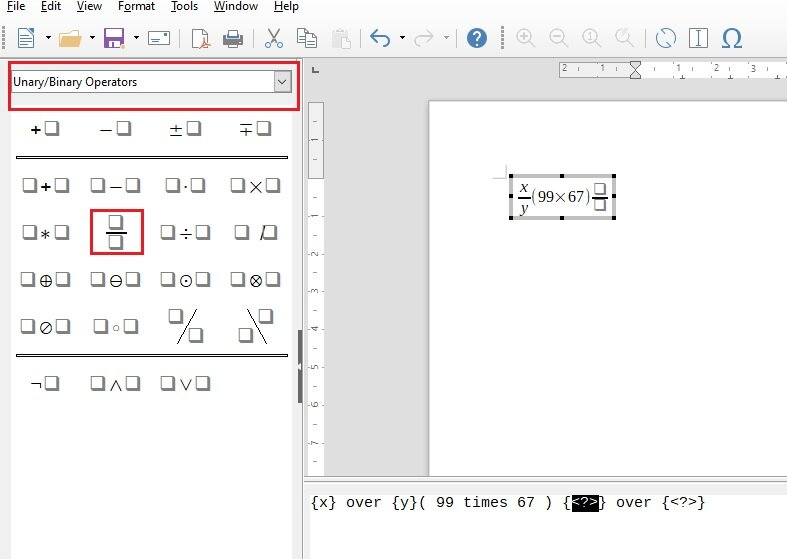 how to insert math equation in libreoffice