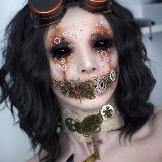 steampunk makeup DIY how to glue gears to your skin scary halloween makeup