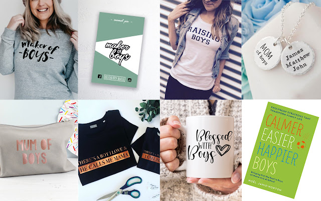 collage of eight images featuring gifts suited to mothers of boys