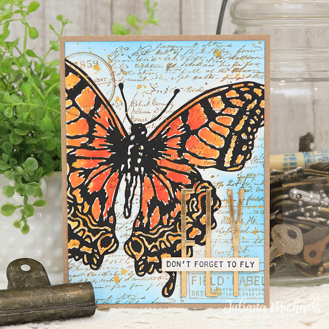 Don't Forget to Fly Card by Juliana Michaels featuring Tim Holtz Butterfly Perspective Thinlit and Alphanumeric Stretch Thinlit