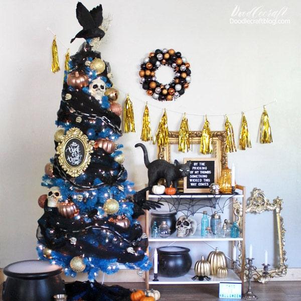 Halloween Decoration Black Faux Fur Canvas Liner Orange and Black Stripe Halloween Christmas Stocking