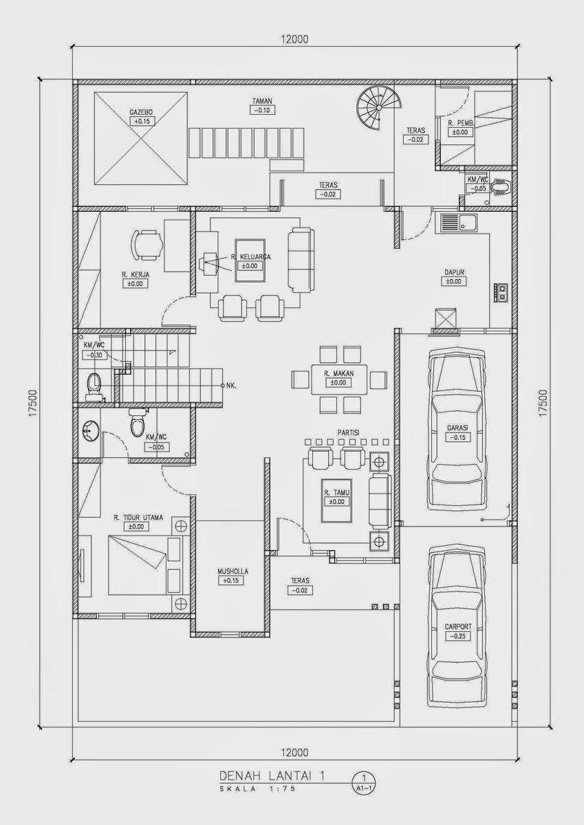 104 Denah Rumah Minimalis Mewah 1 Lantai Gambar Desain Rumah Minimalis