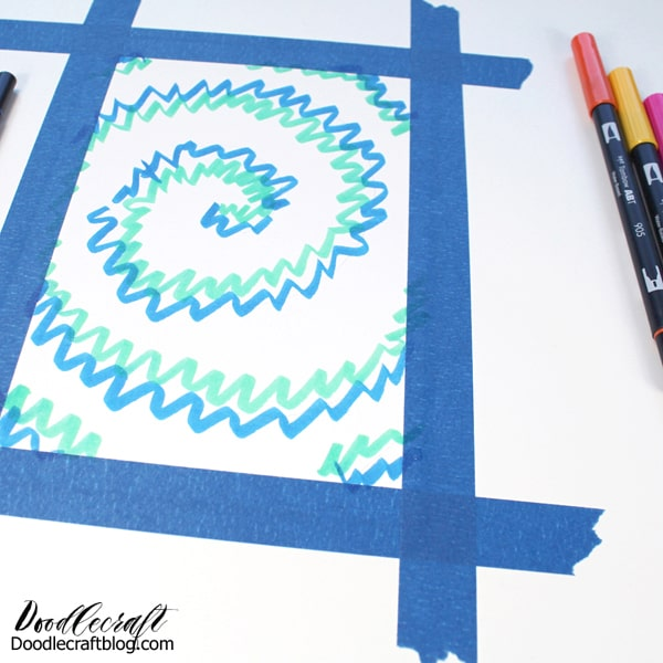 Now scribble! Use the Dual Brush Pens and scribble squiggly lines around the pencil spiral. Then continue coloring around the spiral with each color of Tombow Dual Brush Pen that you desire.