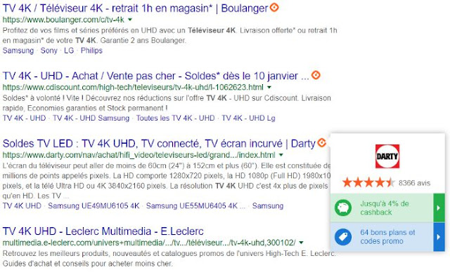 Google shopping televiseur