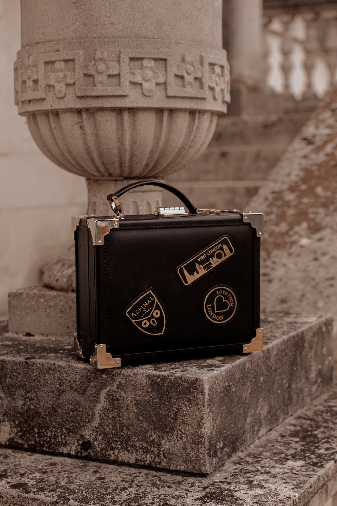 Aspinal of London Trunk Bag Black Patches