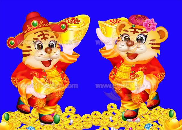 Download Tranh dán tường hổ vàng tài lộc nhâm dần 2022