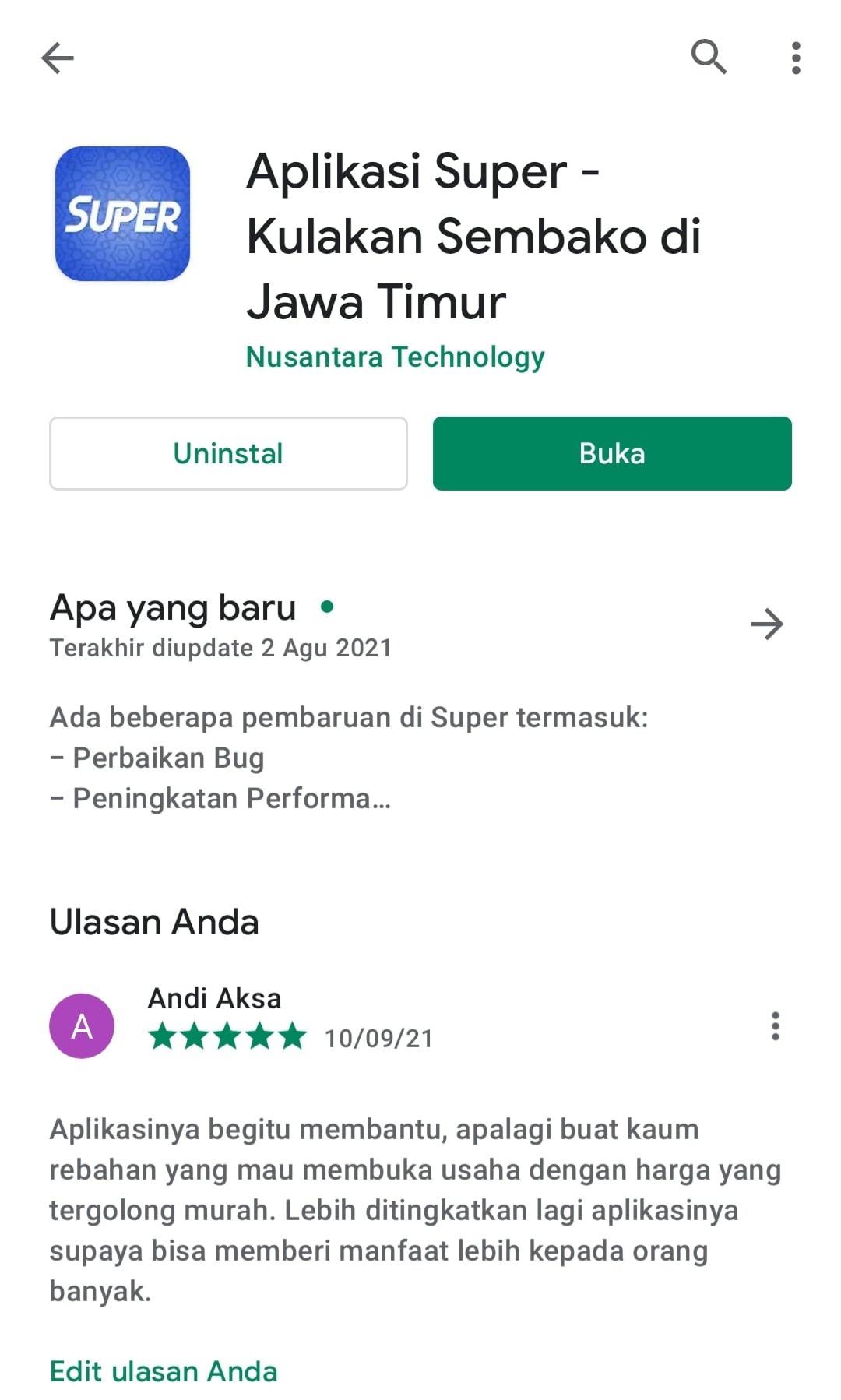 Aplikasi Super Kulakan Sembako Jawa Timur