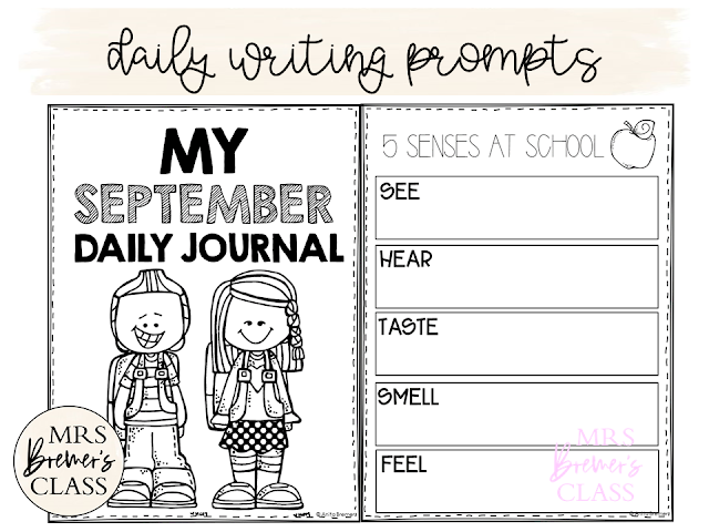 No Prep Daily Journal Writing Prompts for September! This pack includes writing stationery paper for the month of September. It is packed with prompts that will help kids generate LOTS of ideas what to write about. It also includes several seasonal acrostic poetry options. Create a monthly writing portfolio for each student! K-3 #journals #writingprompts #writing #kindergartenwriting #1stwriting #2ndwriting #fall #education #noprep #backtoschool