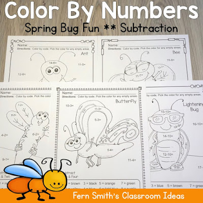 Spring Color By Number Subtraction
