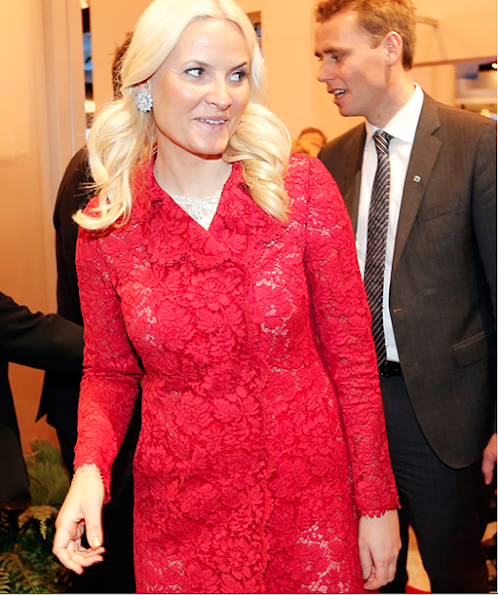 Crown Princess Mette Marit wore Valentino Lace DressCoat. Style of Princess Mette-Marit
