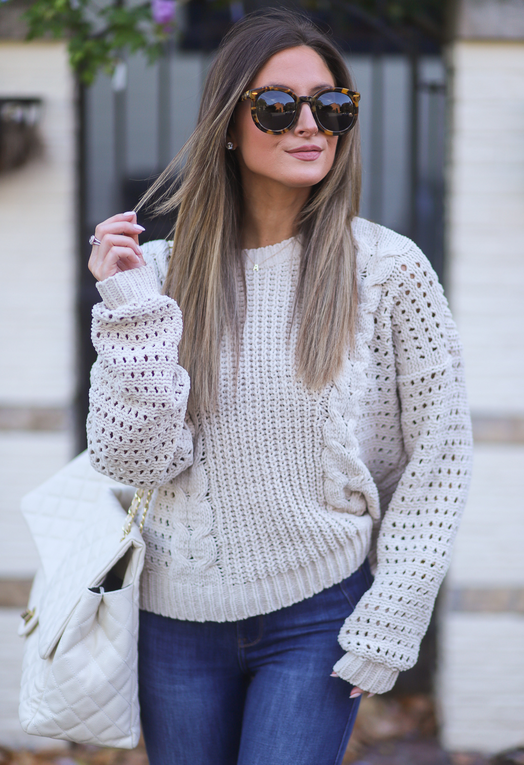 hollister cable chenille sweater