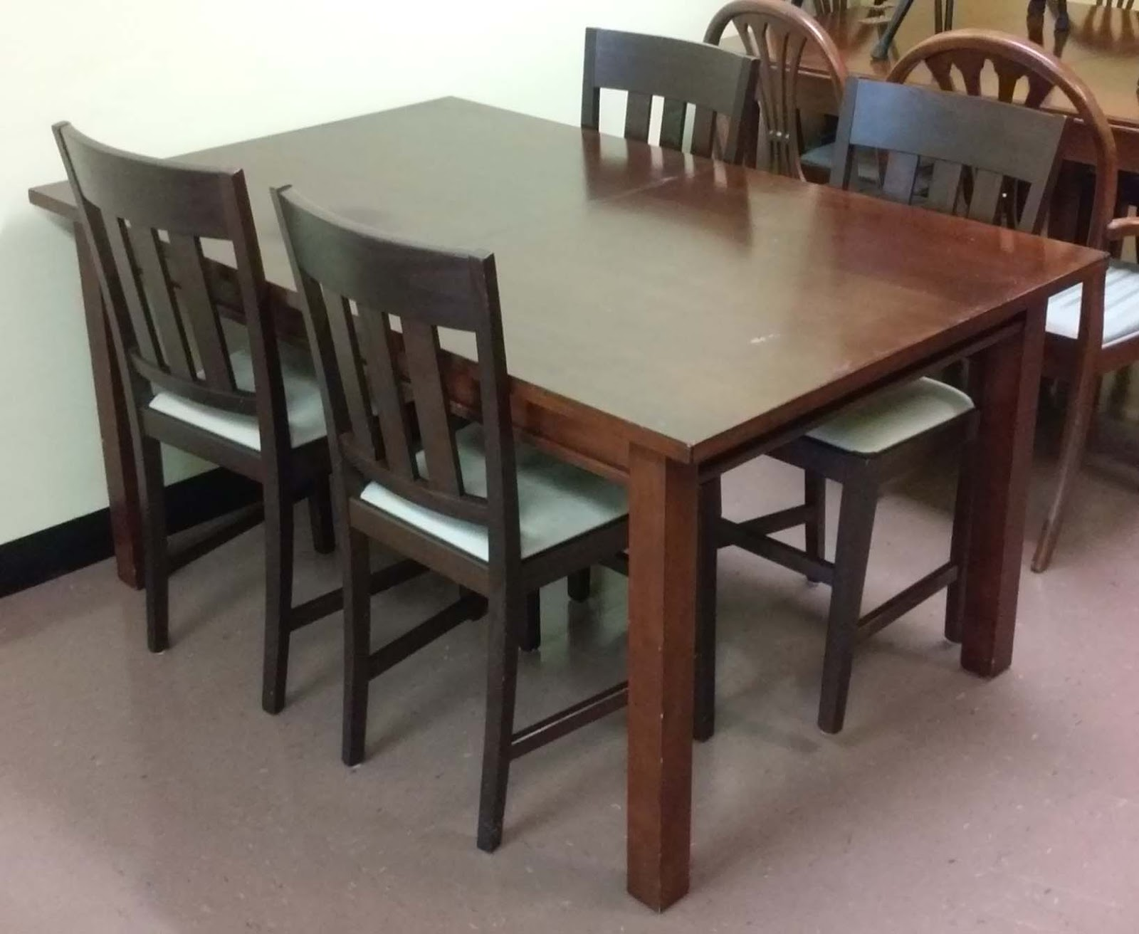 uhuru furniture collectibles sold modern asian dining set table 1 leaf 4 chairs 170. Black Bedroom Furniture Sets. Home Design Ideas